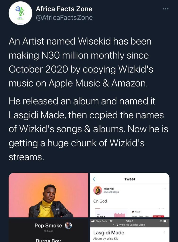 Wisekid whose real name is Hosea Yohanna has been alleged to have uploaded a replica of Wizkid's 'Made in Lagos' album on apple music, thereby diverting traffic to his music.